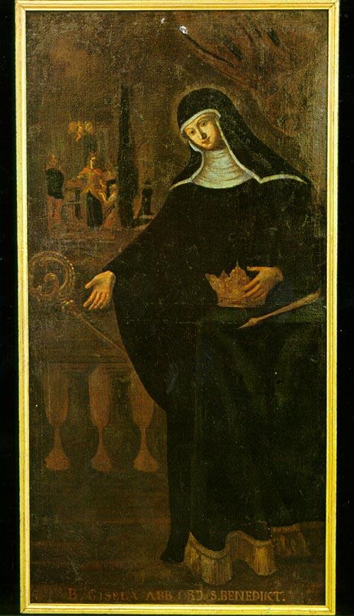 Den salige Gisela som abbedisse, barokt oljemaleri i klosterkirken Niedernburg