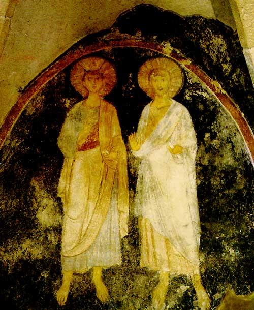 Veggmaleri av Stefan og Gisela i Gisela-kapellet i Veszprém i Ungarn